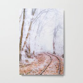 Railroad through a snowy forest watercolor painting Metal Print