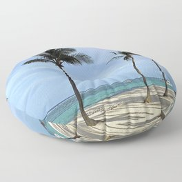 Palm Trees on Beautiful Beach - Picturesque Blue Sky Floor Pillow