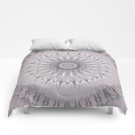 Mauve Silver Mandala Comforters