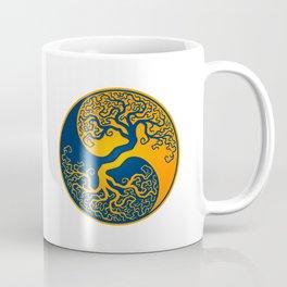 Blue and Yellow Tree of Life Yin Yang Coffee Mug