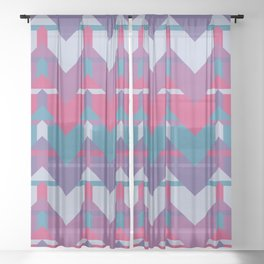 Cool Waves #society6 #violet #pattern Sheer Curtain