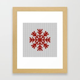 Knitted Christmas decoration red snowflake on white Framed Art Print