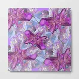 PURPLE AMETHYST & QUARTZ CRYSTALS FEBRUARY GEMS Metal Print