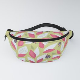 Pretty Plant With White Pink Leaves And Ladybugs Fanny Pack