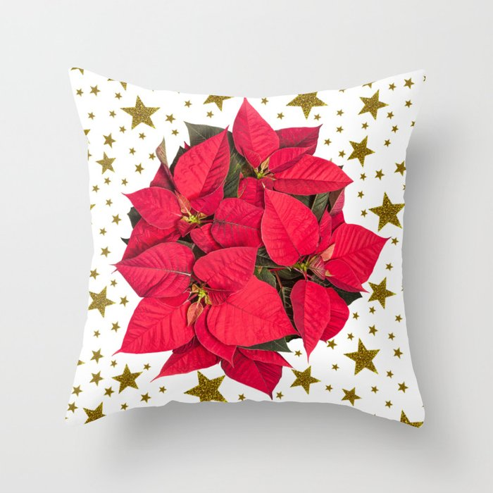 red christmas flower and sparkly gold stars throw pillow