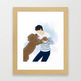 makkachin and yuuri dancing - yuri on ice Framed Art Print