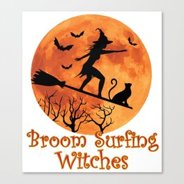 Broom Surfing Witches Halloween Canvas Print