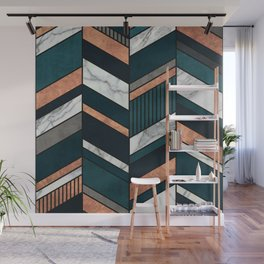 Abstract Chevron Pattern - Copper, Marble, and Blue Concrete Wall Mural
