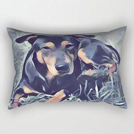 Black and Tan Coonhound Puppy Rectangular Pillow