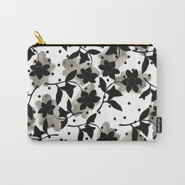 Modern abstract black  silver brushstrokes dots floral  Carry-All Pouch