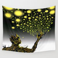 fireflies Wall Tapestries featuring Fireflies Groot  by thelocabat