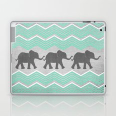 Three Elephants - Teal and White Chevron on Grey Laptop & iPad Skin