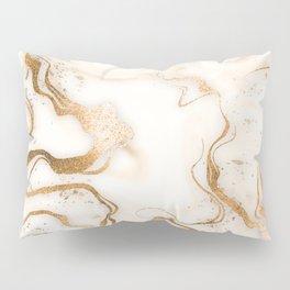 Ivory Gold Swirls Copper Marble Pillow Sham