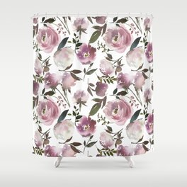 Modern hand painted ivory purple pink watercolor roses Shower Curtain