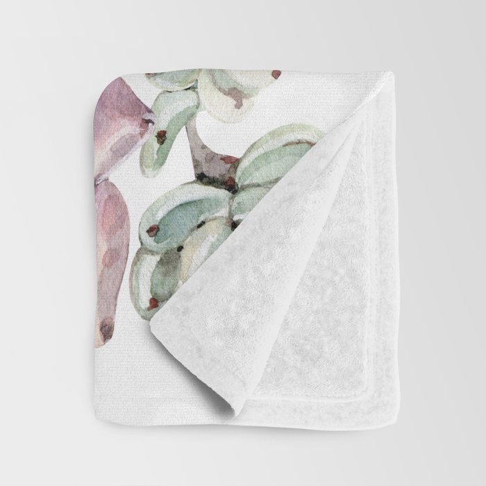 Desert Succulents on White Throw Blanket