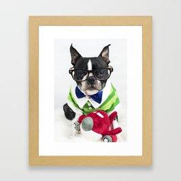 Boston Terrier Nerd Framed Art Print