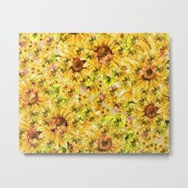 Sun Flower Mosaic Metal Print