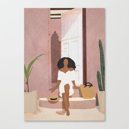 Woman sitting on the porch Canvas Print