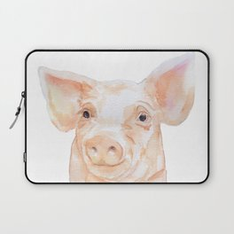 Pig Face Watercolor Farm Animal Laptop Sleeve