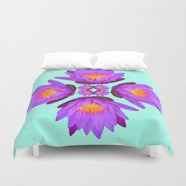 Purple Lily Flower - On Aqua Blue Duvet Cover