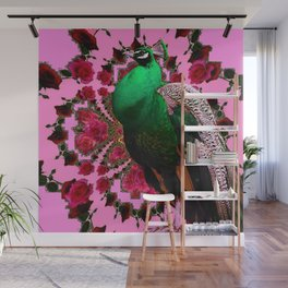 BEAUTIFUL GREEN PEACOCK PINK ROSES ABSTRACT Wall Mural