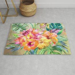 Tropical Hibiscus Garden Rug