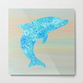 Dolphin Silhouette (Blue Splash) Metal Print