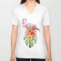 flamingo V-neck T-shirts featuring Flamingo by Julia Badeeva