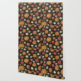 Roses and Marigolds Wallpaper