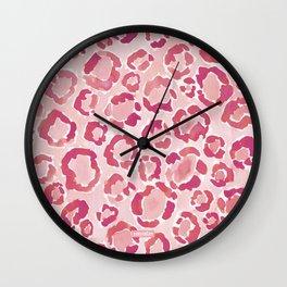 BIG KITTY KISS Watercolor Pink Animal Print Wall Clock