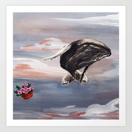 The Hitchhiker's Guide to the Galaxy - Whale & Petunias (Against All Probability / Oh no, not again) Art Print