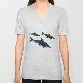 Three Sharks Dive Deep Unisex V-Neck
