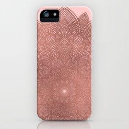 Dreamcatcher Sunset - abstract bronze rose gold mandala, blush pink iPhone Case