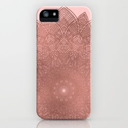 Dreamcatcher Sunset - abstract bronze rose gold mandala, blush pink iPhone Case