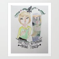 fangirl Art Prints featuring fangirl by Majelle Legros