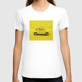 A classic, vintage 500 Italian car in sunshine yellow T-shirt