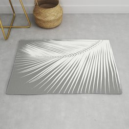 Large Palm Leaf, Grey / Gray and White Rug
