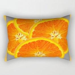 CONTEMPORARY SUCCULENT  ORANGE SLICES GREY ART Rectangular Pillow