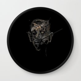 scary creature face, halloween card, raster illustrtation over a black background Wall Clock