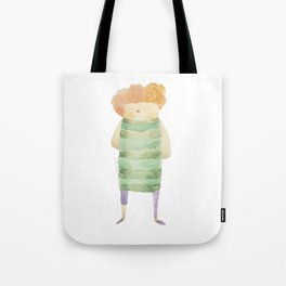 Bird Girl Character in Stripes and Plaid Tote Bag