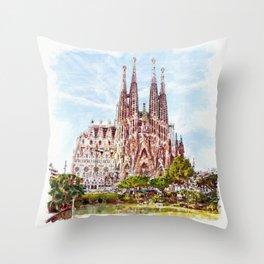 La Sagrada Familia watercolor Throw Pillow