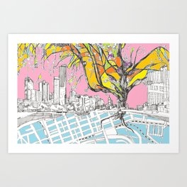 Multi-coloured Melbourne Art Print