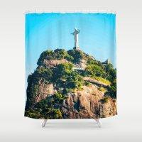 christ Shower Curtains featuring Christ Redeemer by Edgard Mello
