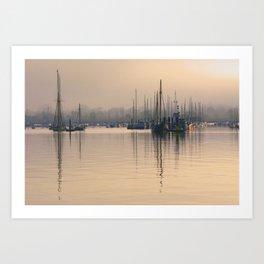 Tall Masts at Sunrise Art Print