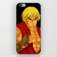 street fighter iPhone & iPod Skins featuring Ken Street Fighter by jasonarts