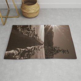 B&W Sunrise Backcountry Ski // Black and White Skin Track to Snowy Paradise Rug