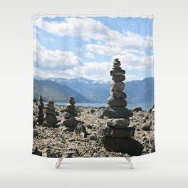 Chelan Rock Stacks Shower Curtain
