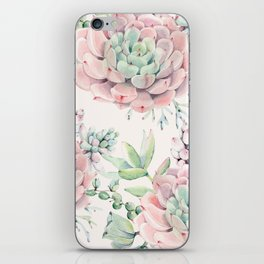 Pink Succulents on Cream iPhone Skin