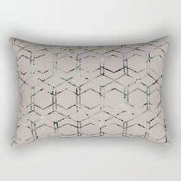 Silver Geometric Art Deco - Gatsby Taupe Rectangular Pillow