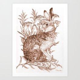 Rabit in Wildflowers Art Print